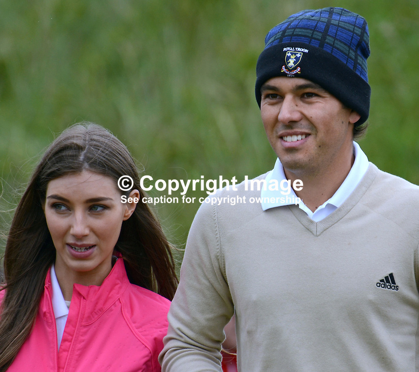 Leading amateur, Harry Diamond, from Holywood, Co Down, with girlfriend  at practice day, 26th June 2012, Irish Open at the Royal Portrush Golf Club. Harry, a member of the Belvoir Park club in Belfast recently won the West of Ireland Amateur Open Championship. 201206260150..Photo taken 26th June 2012 during one of the practice days at the Irish Open Championship, Royal Portrush Golf Club, N Ireland.<br /> <br /> Copyright Image from Victor Patterson,<br /> 54 Dorchester Park, <br /> Belfast, UK, BT9 6RJ<br /> <br /> t1: +44 28 9066 1296 (from Rep of Ireland 048 9066 1296)<br /> t2: +44 28 9002 2446 (from Rep of Ireland 048 9002 2446)<br /> <br /> m: +44 7802 353836<br /> <br /> e: victorpatterson@me.com<br /> www.victorpatterson.com<br /> <br /> Please see my Terms and Conditions of Use at www.victorpatterson.com. It is IMPORTANT that you familiarise yourself with them.<br /> <br /> Images used on the Internet must be visibly watermarked i.e. &copy; Victor Patterson<br /> within the body of the image and copyright metadata must not be deleted. Images <br /> used on the Internet have a size restriction of 4kbs and will be chargeable at current<br />  NUJ rates unless agreed otherwise.<br /> <br /> This image is only available for the use of the download recipient i.e. television station, newspaper, magazine, book publisher, etc, and must not be passed on to any third <br /> party. It is also downloaded on condition that each and every usage is notified within 7 days to victorpatterson@me.com<br /> <br /> The right of Victor Patterson to be identified as the author is asserted in accordance with The Copyright Designs And Patents Act (1988). All moral rights are asserted.