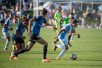 Kansas City, MO - Sunday May 07, 2017: Desiree Scott, Yael Averbuch, Marta Vieira Da Silva during a regular season National Women's Soccer League (NWSL) match between FC Kansas City and the Orlando Pride at Children's Mercy Victory Field.