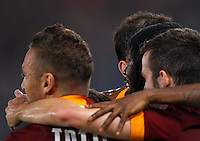 Calcio, Champions League, Gruppo E: Roma vs CSKA Mosca. Roma, stadio Olimpico, 17 settembre 2014.<br /> Roma forward Gervinho, of Ivory Coast, , second from right, celebrates with teammates after scoring during the Group E Champions League football match between AS Roma and CSKA Moskva at Rome's Olympic stadium, 17 September 2014.<br /> UPDATE IMAGES PRESS/Riccardo De Luca