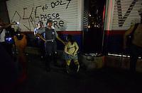 SÃO PAULO, SP - 22.02.2014 - MANIFESTAÇÃO CONTRA COPA- Manifestantes detidos durante Segunda manifestação Contra a Copa realizada no centro de São Paulo na tarde deste sabado (22) - FOTO: (Levi Bianco / Brazil Photo Press)