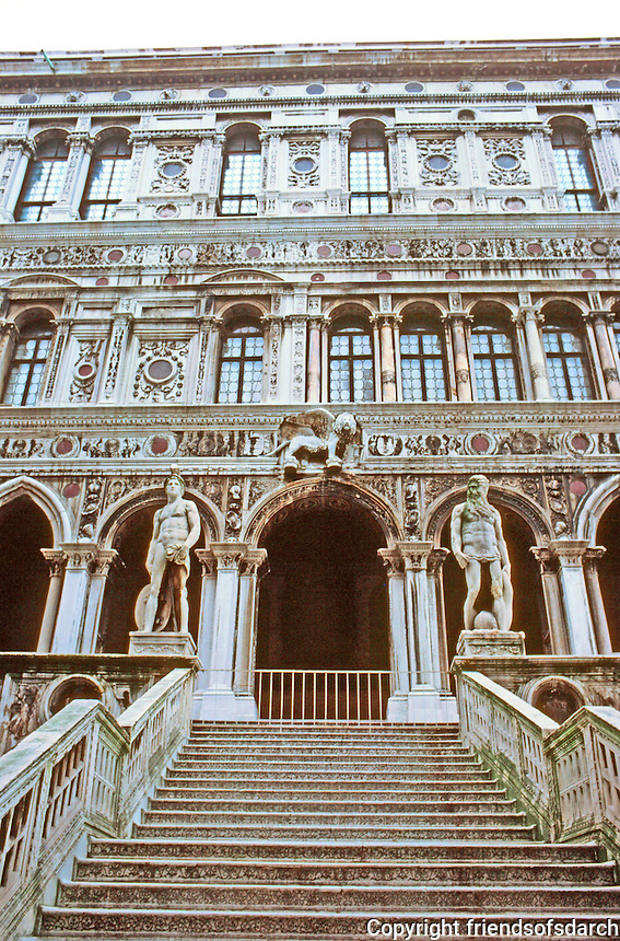 Venice:  Doge's  Palace--Giants' Stairway (Scala Dei Giganti, so called for the figures of Mars and Neptune by Sansovino, 1554)   Photo '83.