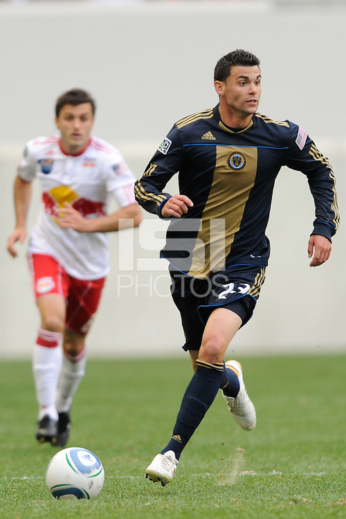 Nick Zimmerman (23) of the Philadelphia Union. The New York Red Bulls defeated the Philadelphia Union 2-1 during a Major League Soccer (MLS) match at Red Bull Arena in Harrison, NJ, on April 24, 2010.