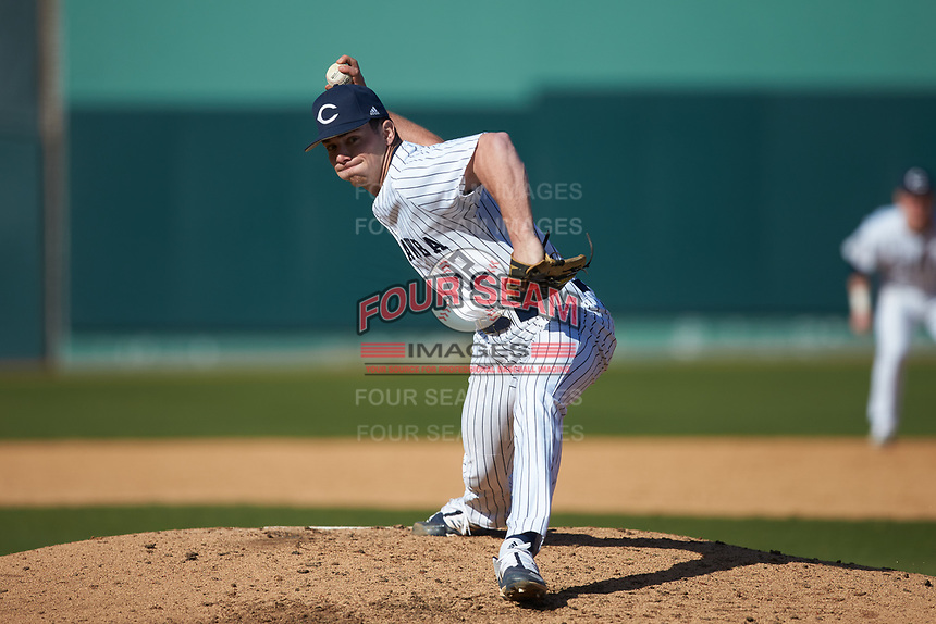 Catawba Indians relief pitcher DJ Laxton (32) in action against the West Virginia State Yellow Jackets at Newman Park on February 9, 2020 in Salisbury, North Carolina. The Indians defeated the Yellow Jackets 15-9 in game one of a doubleheader.  (Brian Westerholt/Four Seam Images)