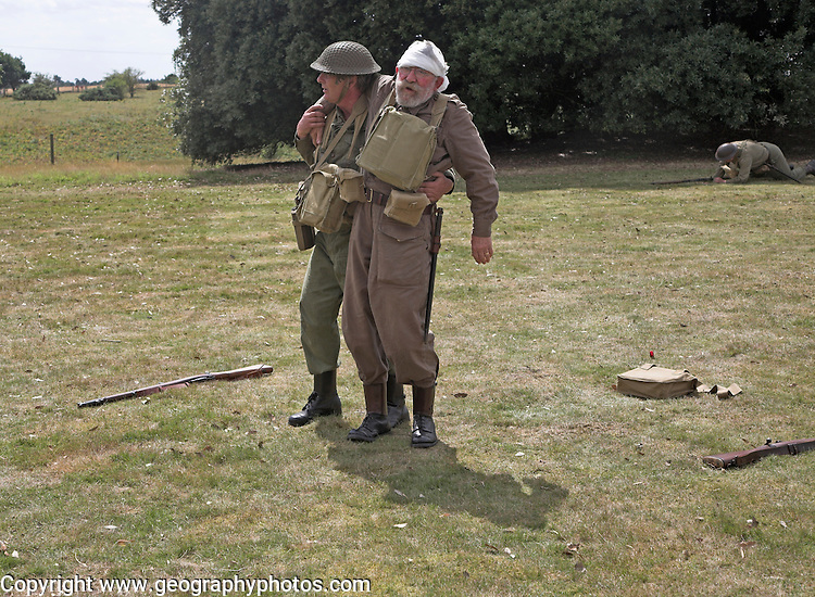 Living History event. Home Guard soldiers in action with casualty.