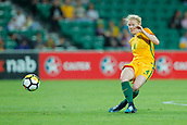 26th March 2018, nib Stadium, Perth, Australia; Womens International football friendly, Australia Women versus Thailand Women; Clare Polkinghorne of the Matildas crosses the ball during the first half