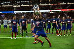 Atletico de Madrid's Lucas Hernandez celebrates the Super Cup Tittle after La Liga match. August 25, 2018. (ALTERPHOTOS/A. Perez Meca)