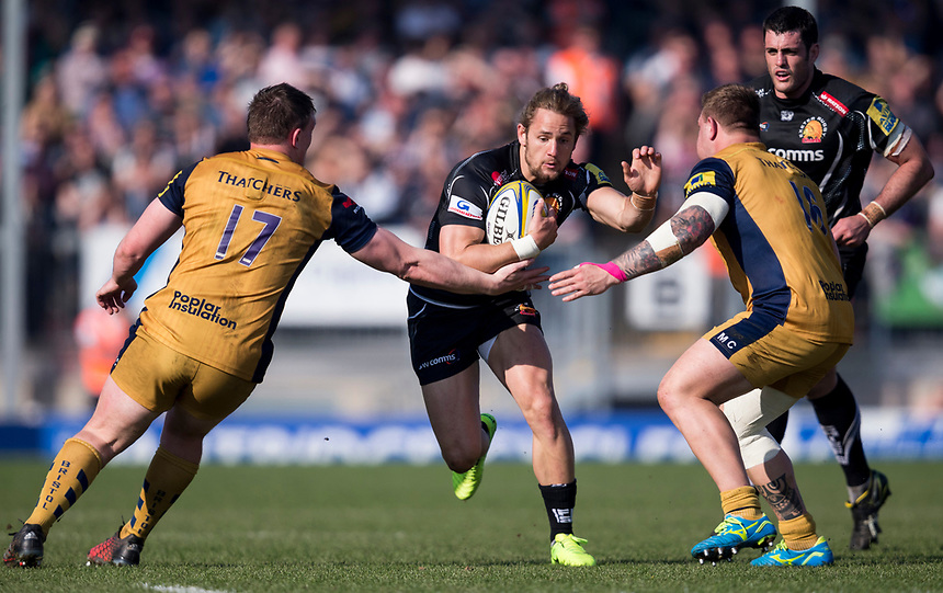 Exeter Chiefs' Michele Campagnaro' in action during todays match<br /> <br /> Photographer Bob Bradford/CameraSport<br /> <br /> Aviva Premiership - Exeter Chiefs v Bristol - Saturday 8th April 2017 - Sandy Park - Exeter<br /> <br /> World Copyright &copy; 2017 CameraSport. All rights reserved. 43 Linden Ave. Countesthorpe. Leicester. England. LE8 5PG - Tel: +44 (0) 116 277 4147 - admin@camerasport.com - www.camerasport.com