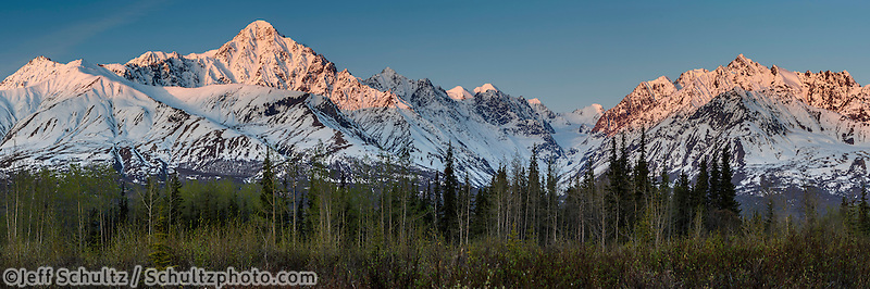 Spring landscape of sunrise alspenglow on snow-covered Chugach Mountains in the Glacier View Area of Matanuska Valley  Spring Southcentral, Alaska <br /> <br /> Photo by Jeff Schultz (C) 2016  ALL RIGHTS RESERVED