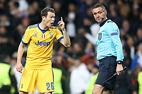 Juventus Football Club's Stephan Lichtsteiner have words with the assistant referee during Champions League Quarter-Finals 2nd leg match. April 11,2018. (ALTERPHOTOS/Acero) /NortePhoto.com