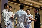 Japan team group (JPN),<br /> AUGUST 10, 2013 - Fencing :<br /> The Japan team before the Men's Team Sabre Round of 32 during the World Fencing Championships Budapest 2013 at Syma Hall in Budapest, Hungary. (Photo by Enrico Calderoni/AFLO SPORT) [0391](L to R) Kenta Tokunan, Kota Arai, Tomohiro Shimamura, Shun Tanaka,  Hiroshi Hashimoto