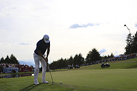 Lucas Bjerregaard (DEN) putts on the playoff green 18 during Sunday's Final Round 4 of the 2018 Omega European Masters, held at the Golf Club Crans-Sur-Sierre, Crans Montana, Switzerland. 9th September 2018.<br /> Picture: Eoin Clarke | Golffile<br /> <br /> <br /> All photos usage must carry mandatory copyright credit (© Golffile | Eoin Clarke)