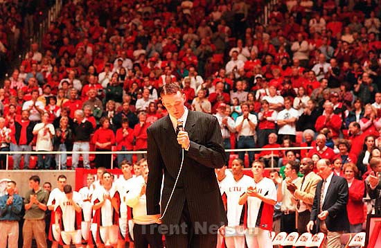 Former Ute star Keith Van Horn gets emotional in response to thundering applause from a Huntsman Center crowd as his number is retired.<br />