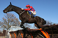 Toreador ridden by Sam Twiston-Davies in jumping action during the Hempton National Hunt Maiden Hurdle