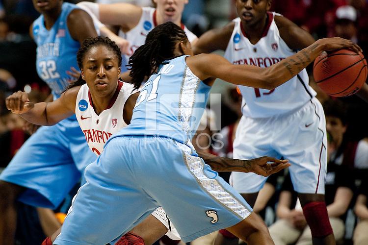 SPOKANE, WA - MARCH 26, 2011: Nnemkadi Ogwumike of Stanford Women's Basketball vs University of North Carolina, NCAA West Regionals on March 26, 2011.