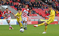 Fleetwood Town's Ched Evans scores his side's first goal  from the penalty spot<br /> <br /> Photographer David Shipman/CameraSport<br /> <br /> The EFL Sky Bet League One - Doncaster Rovers v Fleetwood Town - Saturday 6th October 2018 - Keepmoat Stadium - Doncaster<br /> <br /> World Copyright © 2018 CameraSport. All rights reserved. 43 Linden Ave. Countesthorpe. Leicester. England. LE8 5PG - Tel: +44 (0) 116 277 4147 - admin@camerasport.com - www.camerasport.com