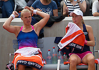 Paris, France, 26 June, 2016, Tennis, Roland Garros, Doubles:  Kiki Bertens (NED) (L) and her partner Johanna Larsson <br /> Photo: Henk Koster/tennisimages.com