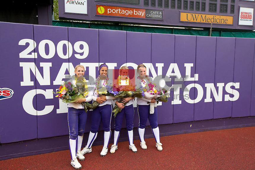 .Nikia Williams. Taylor Smith. Jenna Clifton. Kimi Pohlman. The University of Washington women's softball team honored the seniors following their final home game of the regular season against Arizona State University on Sunday April 29, 2012.(Photo by Scott Eklund /Red Box Pictures)