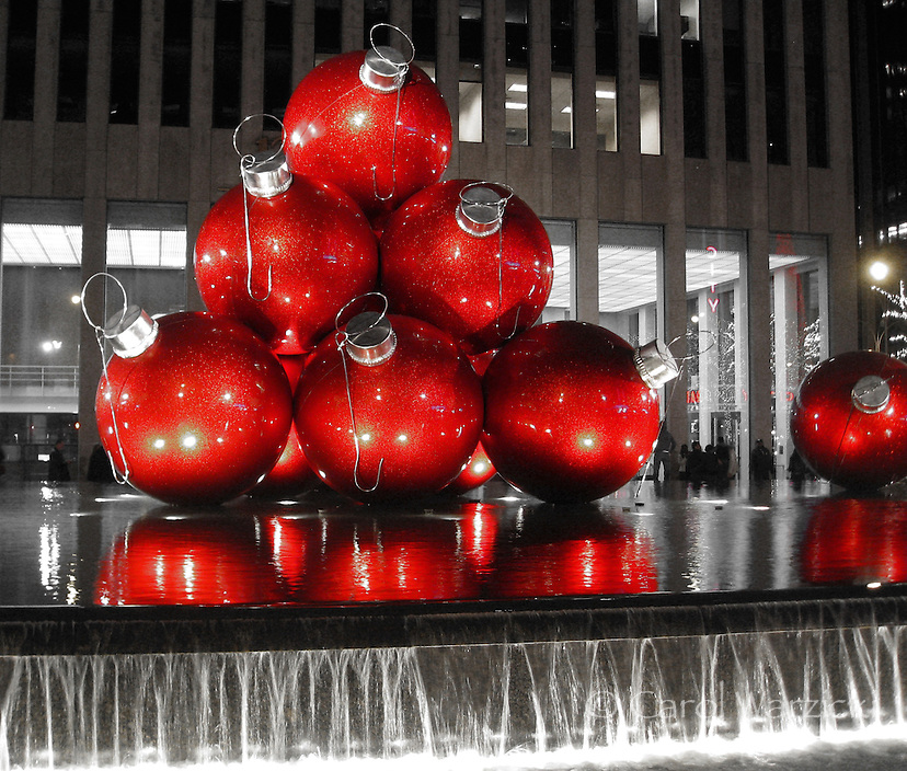 these giant christmas ornaments in front of the 1251 sixth avenue building the exxon building - Big Christmas Ornaments
