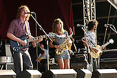 The Zutons - Dave McCabe, Abi Harding and touring guitarist Paul Molloy - performing live at Hyde Park Calling in Hyde Park London UK - 02 Jul 2006.  Photo credit: George Chin/IconicPix