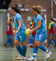 20190915– HALLE , BELGIUM : FP Halle-Gooik Girls A players Kyana De Bast, and Melissa Tom are pictured after the goal at the Belgian Women's Futsal D1 match between FP Halle-Gooik A and FP Halle-Gooik B on Sunday 15th 2019 at the De Bres Sport Complex in Halle, Belgium. PHOTO SPORTPIX.BE | Sevil Oktem