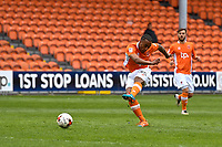 Blackpool's Neil Danns shoots at goal<br /> <br /> Photographer Terry Donnelly/CameraSport<br /> <br /> The EFL Sky Bet League Two - Blackpool v Accrington Stanley - Friday 14th April 2017 - Bloomfield Road - Blackpool<br /> <br /> World Copyright &copy; 2017 CameraSport. All rights reserved. 43 Linden Ave. Countesthorpe. Leicester. England. LE8 5PG - Tel: +44 (0) 116 277 4147 - admin@camerasport.com - www.camerasport.com