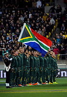 The Springboks line up before the Rugby Championship match between the New Zealand All Blacks and South Africa Springboks at Westpac Stadium in Wellington, New Zealand on Saturday, 15 September 2018. Photo: Dave Lintott / lintottphoto.co.nz
