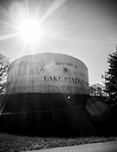 Welcome to Lake Station, IN. Lake Station's water storage tank, which holds xxx gallons of water.