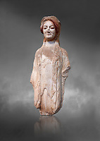 Ancient Greek Archaic statuette of a  kore, found in the Acropolis Athens, 490 BC, Athens National Archaeological Museum. Cat no BE 16/2009.  Against grey.<br /> <br /> The kore statues hair is adorned with a wreath and her ears by round disk earings. Traces of paint can be found on her garments and jewellery. Red paint was found on her hair and eyes, Acropolis Museum Cat no 687