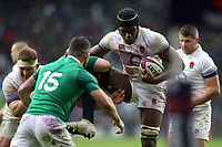 Maro Itoje of England is tackled. Natwest 6 Nations match between England and Ireland on March 17, 2018 at Twickenham Stadium in London, England. Photo by: Patrick Khachfe / Onside Images