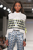 Collection by Jennifer Echeverria from UCLAN, University of Central Lancashire. Graduate Fashion Week 2014, Runway Show at the Old Truman Brewery in London, United Kingdom. Photo credit: Bettina Strenske
