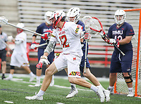 College Park, MD - May 13, 2018: Maryland Terrapins Logan Wisnauskas (12) makes a move towards the goal during the NCAA first round game between Robert Morris and Maryland at  Capital One Field at Maryland Stadium in College Park, MD.  (Photo by Elliott Brown/Media Images International)