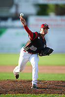 Batavia Muckdogs relief pitcher Reilly Hovis (28) during a game against the Hudson Valley Renegades on July 31, 2016 at Dwyer Stadium in Batavia, New York.  Hudson Valley defeated Batavia 4-1. (Mike Janes/Four Seam Images)