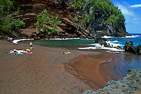 Secluded  Kaihalulu Beach.  Better known as Red Sand Beach. Located in the town of Hana near Hotel Hana.