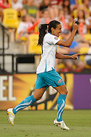 Marta (10) of Marta XI celebrates scoring her first goal during the Women's Professional Soccer (WPS) All-Star Game at KSU Stadium in Kennesaw, GA, on June 30, 2010.