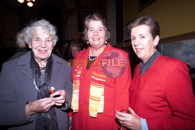 Moira Corcoran, Anna McKenna and Rose Quinn at the opening of The Heritage Centre..Picture Paul Mohan Newsfile..Camera:   DCS620C.Serial #: K620C-01943.Width:    1728.Height:   1152.Date:  1/12/99.Time:   20:29:06.DCS6XX Image.FW Ver:   1.9.6.TIFF Image.Look:   Product.Tagged.Counter:    [1101].Shutter:  1/50.Aperture:  f8.0.ISO Speed:  200.Max Aperture:  f2.8.Min Aperture:  f22.Focal Length:  14.Exposure Mode:  Manual (M).Meter Mode:  Color Matrix.Drive Mode:  Continuous High (CH).Focus Mode:  Continuous (AF-C).Focus Point:  Center.Flash Mode:  Normal Sync.Compensation:  +0.0.Flash Compensation:  +1.0.Self Timer Time:  10s.White balance: Auto (Flash).Time: 20:29:06.277.