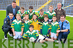Nathan O'Sullivan, Sean Ahern, Ross O'Connor, Shane Flynn, Peter Murphy, Bryan Herlihy, Stephen Gillman, Daniel Moynihan, Darran O'Keeffe and David O'Connor, Boherbue National school with Kerry star Tom O'Sullivan, Tom Spillane, sponsor, Jim O'Connor, teacher and Garda Eddie Walsh at the Killarney Garda football blitz in Fitzgerald Stadium, Killarney on Friday.