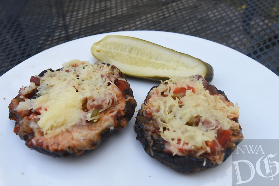 NWA Democrat-Gazette/FLIP PUTTHOFF<br />Portobello mushroom pizzas may be a welcome variation after a summer of the usual grill fare.