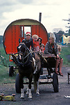 Irish Travellers   family southern Ireland with traditional horse drawn caravan. Eire. 1970s.<br />