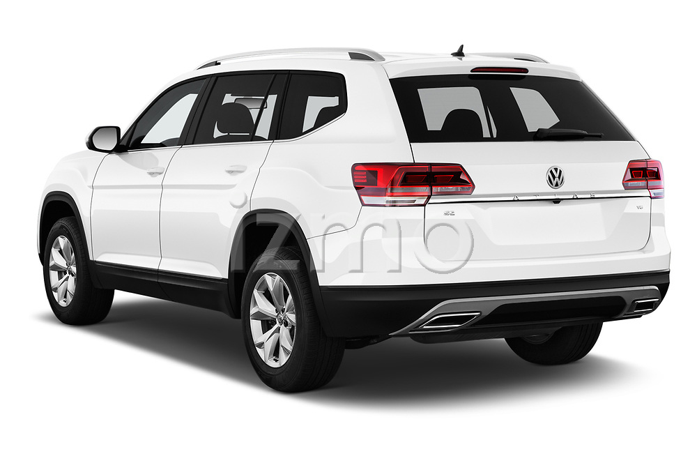 Car pictures of rear three quarter view of a 2019 Volkswagen Atlas SE 5 Door SUV angular rear