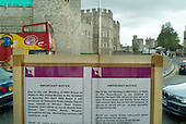 Bus shelter poster opposite Windsor Castle giving notice of revised timetable during the wedding of Prince Charles and Camilla Parker-Bowles.