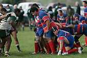 The Ardmore Marist forward pack ready themselves to pack down in a scrum. Counties Manukau Premier Club Rugby, Ardmore Marist vs Manurewa played at Bruce Pulman Park, Papakura on the 10th of June 2006. Ardmore Maris won 18 - 11.