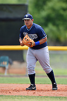 Tampa Bay Rays minor league third baseman Hector Montes (81) during an extended spring training game against the Boston Red Sox on April 16, 2014 at Charlotte Sports Park in Port Charlotte, Florida.  (Mike Janes/Four Seam Images)