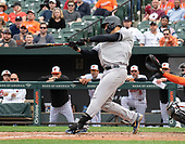 New York Yankees catcher Gary Sanchez (24) hits the last of his three home runs of the day in the eighth inning against the Baltimore Orioles at Oriole Park at Camden Yards in Baltimore, MD on Sunday, April 7, 2019. The Yankees won the game 15 - 3.<br /> Credit: Ron Sachs / CNP<br /> (RESTRICTION: NO New York or New Jersey Newspapers or newspapers within a 75 mile radius of New York City)