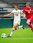 14 October 2010: University of Vermont Catamount forward Nicoleta Hardesty, a Sophomore from Dobbs Ferry, NY, in action against the University of Hartford Hawks at Centennial Field in Burlington, Vermont. The Hawks defeated the Lady Cats 6-2 in America East play. Mandatory Credit: Ed Wolfstein Photo