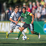 24 September 2016: Dartmouth College Big Green Midfielder Emmanuel Arteaga, a Senior from Escondido, CA, battles University of Vermont Catamount Midfielder Jon Arnar Barðdal, a Freshman from Garðabær, Iceland, at Virtue Field in Burlington, Vermont. The teams played to an overtime 1-1 tie in front of an Alumni Weekend crowd of 1,710 fans. Mandatory Credit: Ed Wolfstein Photo *** RAW (NEF) Image File Available ***