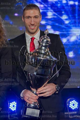 Sportsman of the year Krisztian Berki of Hungary poses with is trophy during the Sports Stars Gala held in Budapest, Hungary on December 18, 2014. ATTILA VOLGYI