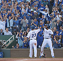 Norichika Aoki, Alcides Escobar (Royals),<br /> OCTOBER 15, 2014 - MLB : Norichika Aoki (23) and Alcides Escobar (R) of Kansas City Royals slap hands after both scored in the 1st inning during the Major League Baseball American League championship series Game 4 against the Baltimore Orioles at Kauffman Stadium in Kansas City, Missouri, USA. <br /> (Photo by AFLO)