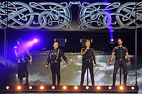 LONDON, ENGLAND - FEBRUARY 7: Shane Lynch, Mikey Graham, Ronan Keating and Keith Duffy of 'Boyzone' performing at the O2 Arena on February 7, 2019 as part of their 'Thank You &amp; Goodnight' Farewell Tour in London, England.<br /> CAP/MAR<br /> &copy;MAR/Capital Pictures