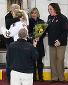David Pfalzer, Emily Pfalzer (BC - 14), Jill Pfalzer, Courtney Kennedy (BC - Associate Head Coach) -  The Boston College Eagles defeated the visiting Boston University Terriers 5-0 on BC's senior night on Thursday, February 19, 2015, at Kelley Rink in Conte Forum in Chestnut Hill, Massachusetts.