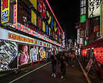Nightlife and neon lights in Shinjuku, Tokyo, Japan